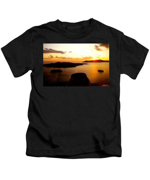 Kids T-Shirt featuring the photograph Late Sunset Santorini  Island Greece by Colette V Hera  Guggenheim