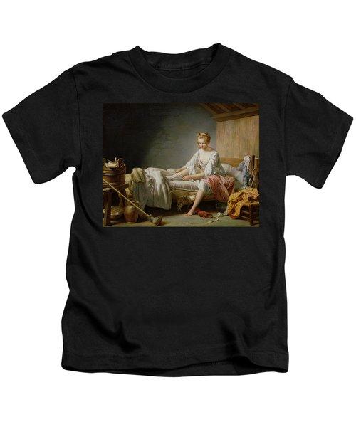 Le Lever De Fanchon Oil On Canvas Kids T-Shirt