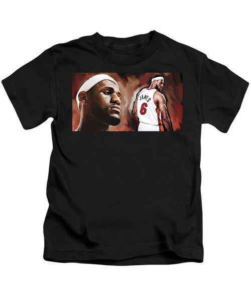 Lebron James Artwork 2 Kids T-Shirt by Sheraz A