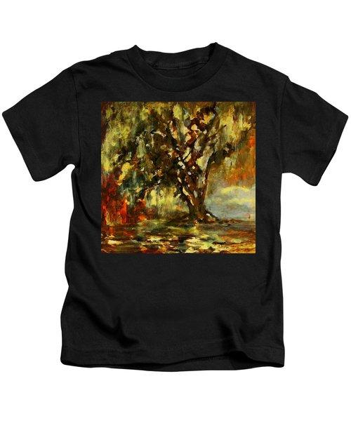 Light Through The Moss Tree Landscape Painting Kids T-Shirt