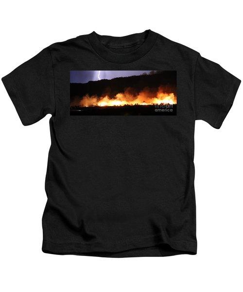 Lightning During Wildfire Kids T-Shirt