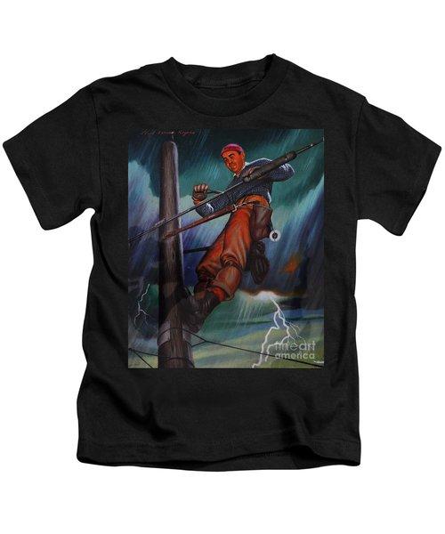 Lineman In Storm Kids T-Shirt