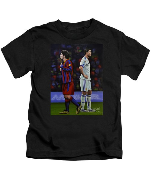 Lionel Messi And Cristiano Ronaldo Kids T-Shirt by Paul Meijering