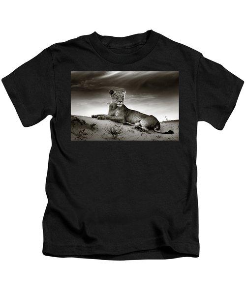 Lioness On Desert Dune Kids T-Shirt