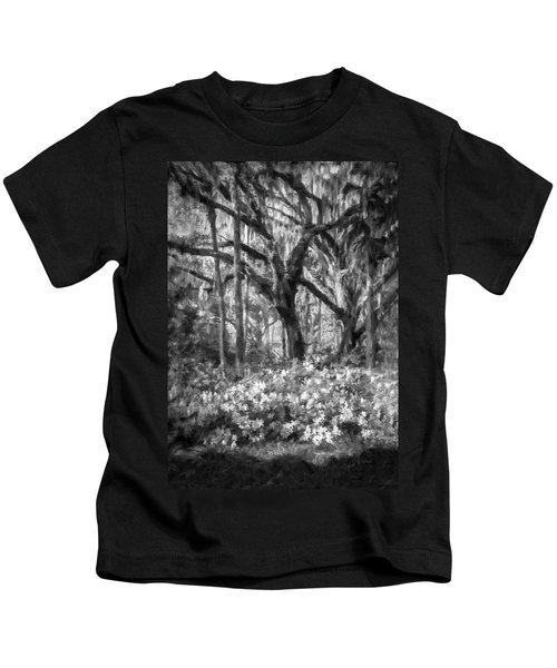 Live Oaks And Azaleas Painted Bw Kids T-Shirt