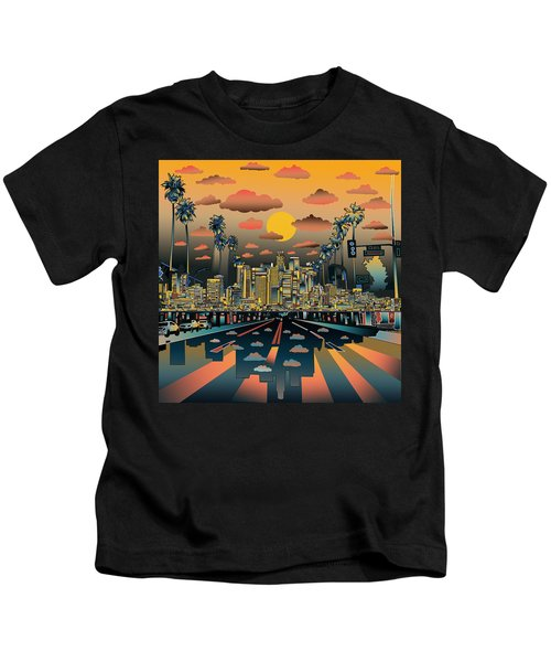 Los Angeles Skyline Abstract 2 Kids T-Shirt by Bekim Art