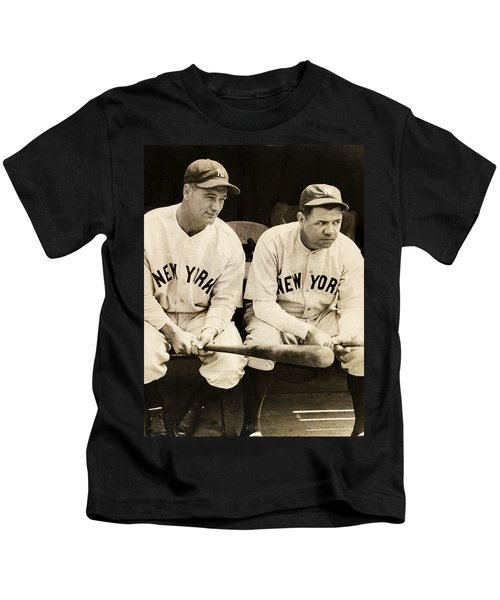 Lou Gehrig And Babe Ruth Kids T-Shirt by Bill Cannon