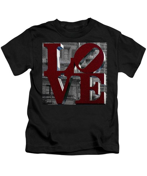 Love Philadelphia Red Mosaic Kids T-Shirt