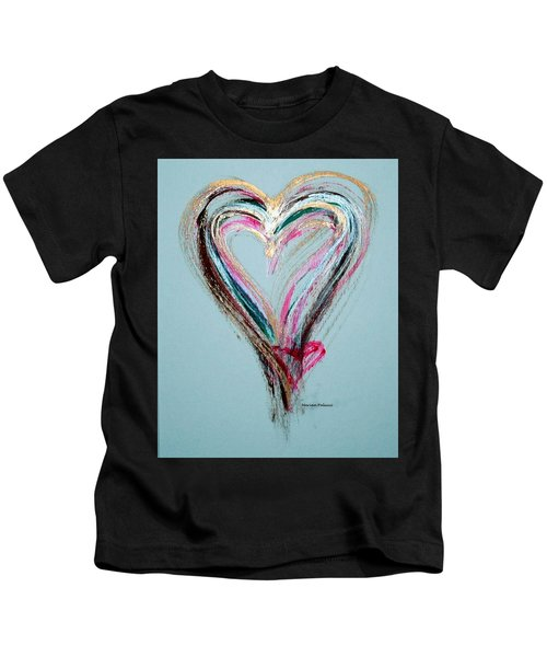 Kids T-Shirt featuring the painting Loving Heart by Marian Palucci-Lonzetta
