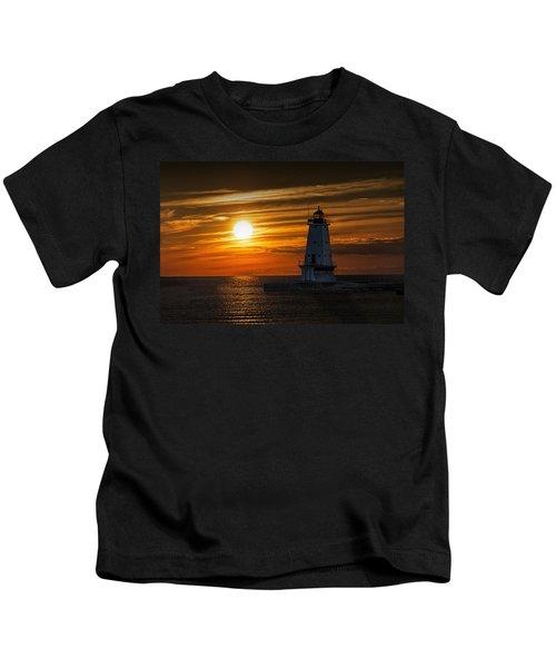 Ludington Pier Lighthead At Sunset Kids T-Shirt