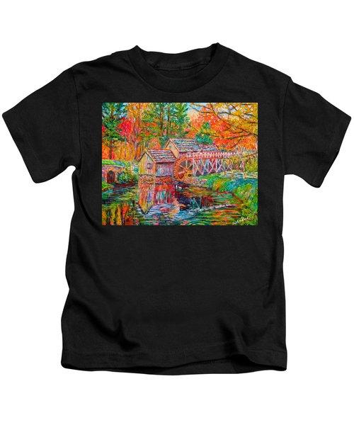 Mabry Mill In Fall Kids T-Shirt