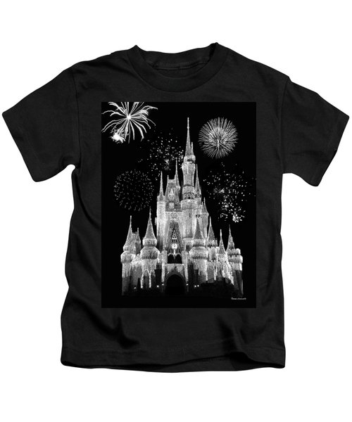 Magic Kingdom Castle In Black And White With Fireworks Walt Disney World Kids T-Shirt