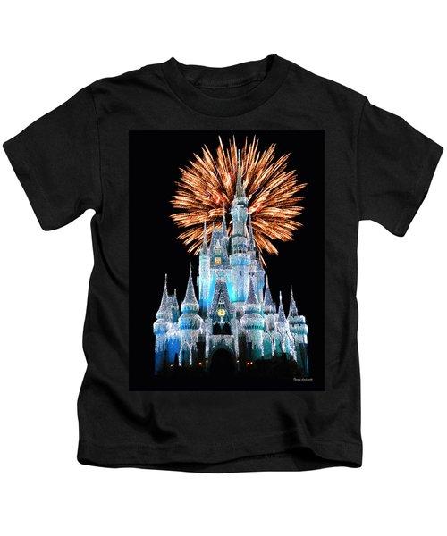 Magic Kingdom Castle In Frosty Light Blue With Fireworks 02 Kids T-Shirt