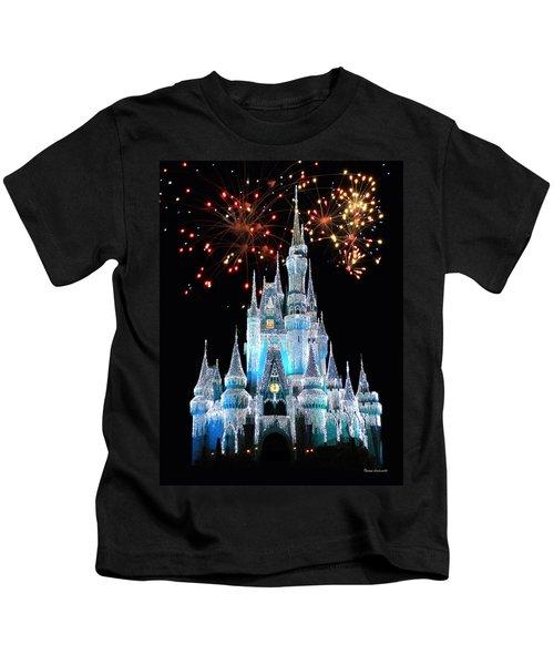 Magic Kingdom Castle In Frosty Light Blue With Fireworks 03 Kids T-Shirt