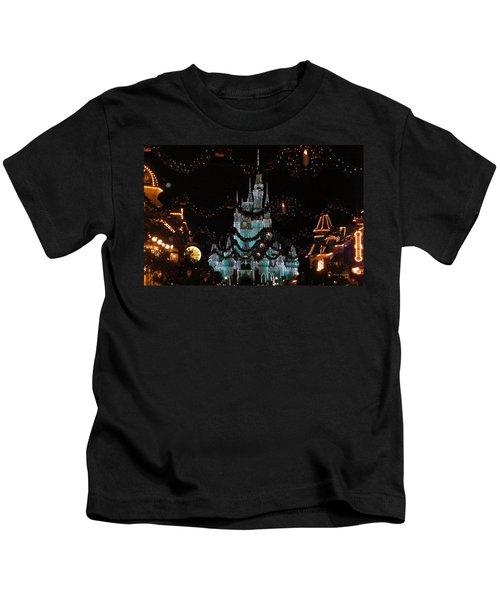 Magic Kingdom Xmas Castle In Frosty Light Blue Kids T-Shirt