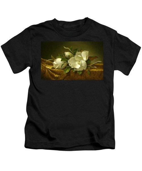 Magnolias On Gold Velvet Cloth Kids T-Shirt