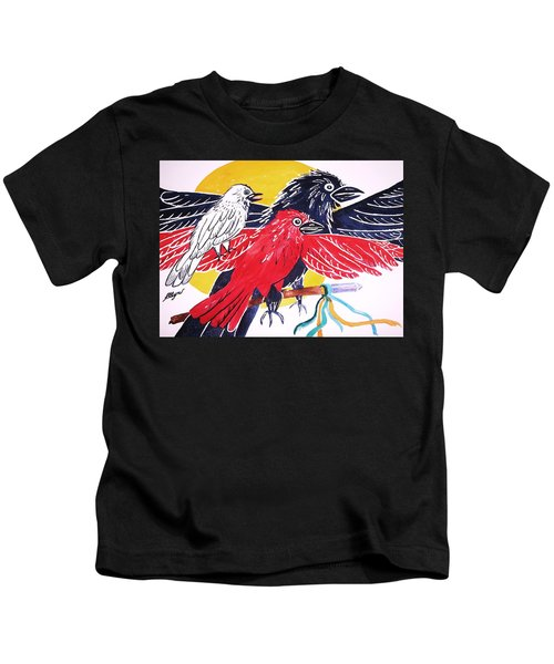 Raven As Maiden Mother And Crone Kids T-Shirt