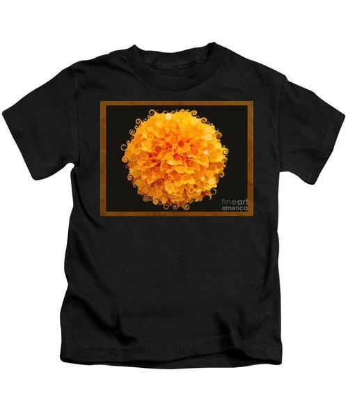 Marigold Magic Abstract Flower Art Kids T-Shirt