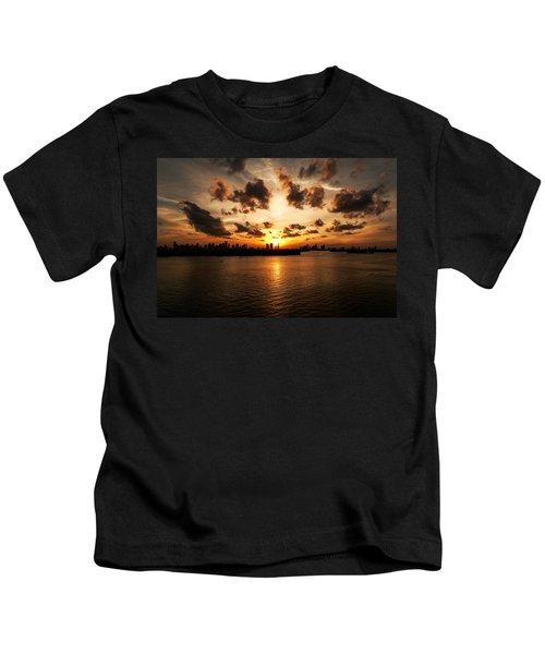 Miami Skyline Sunset Kids T-Shirt