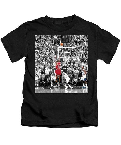 Michael Jordan Buzzer Beater Kids T-Shirt by Brian Reaves