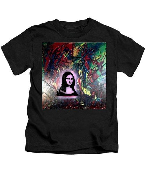 Mixed Media Abstract Post Modern Art By Alfredo Garcia Mona Lisa 2 Kids T-Shirt