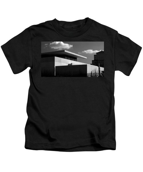 Modern Concrete Architecture Clouds Black White Kids T-Shirt