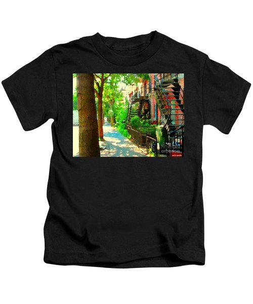 Montreal Art Colorful Winding Staircase Scenes Tree Lined Streets Of Verdun Art By Carole Spandau Kids T-Shirt