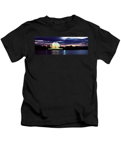 Monument Lit Up At Dusk, Jefferson Kids T-Shirt by Panoramic Images