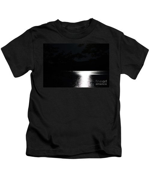 Moon On Waterton Lake Kids T-Shirt