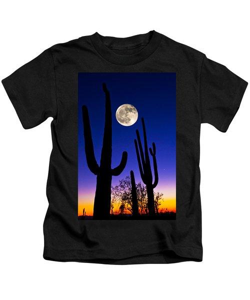 Moon Over Saguaro Cactus Carnegiea Kids T-Shirt
