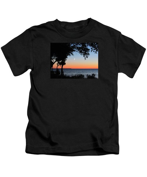 Moon Sliver At Sunset Kids T-Shirt