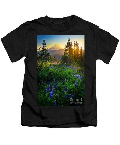 Mount Rainier Sunburst Kids T-Shirt