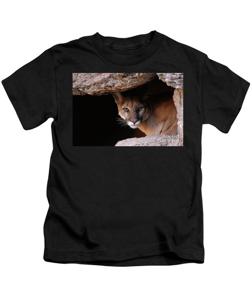 Mountain Lion Peering From Cave Kids T-Shirt