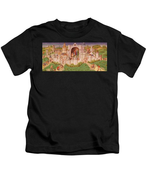 View Of A City With Laborers Paving Roads Leading Up To The City Gates With Cobbles Kids T-Shirt