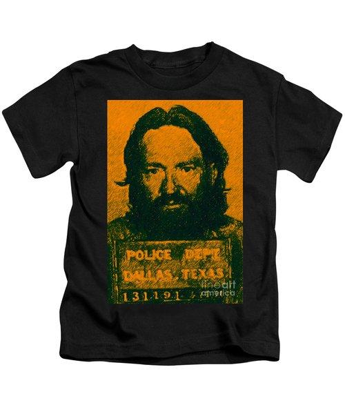 Mugshot Willie Nelson P0 Kids T-Shirt