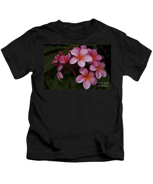 Na Lei Pua Melia O Wailua - Pink Tropical Plumeria Hawaii Kids T-Shirt