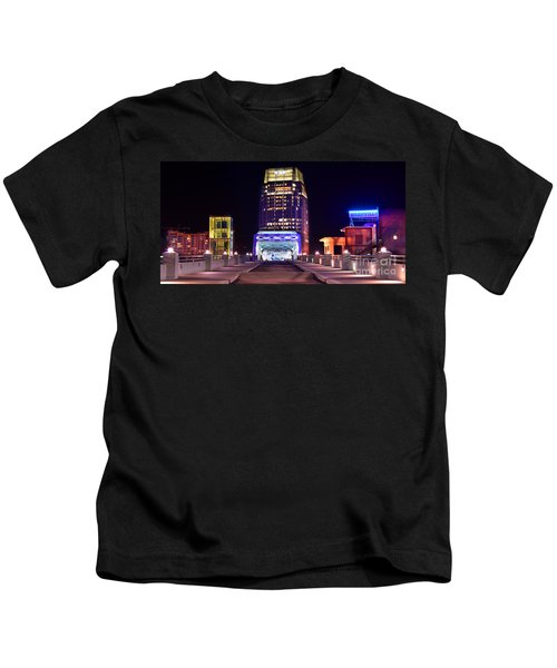 Nashville Sight Night Skyline Pinnacle Panorama Color Kids T-Shirt by Jon Holiday