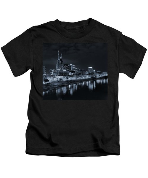 Nashville Skyline At Night Kids T-Shirt by Dan Sproul