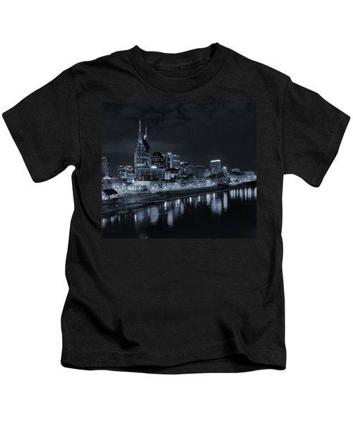 Nashville Skyline At Night Kids T-Shirt