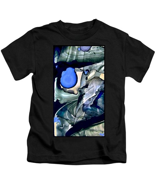 Navy Blue Sage Abstract Alcohol Inks Kids T-Shirt