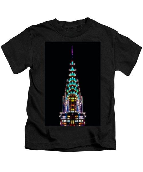 Neon Spires Kids T-Shirt by Az Jackson