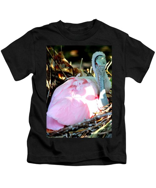 Nesting Spoonbill Kids T-Shirt by Carol Groenen