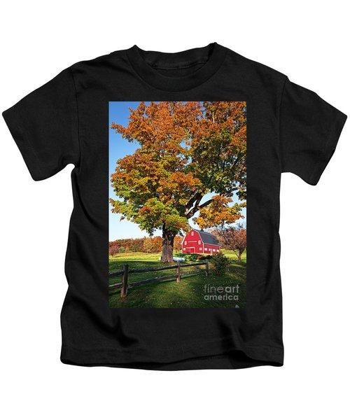 New England Farm Fall Foliage Kids T-Shirt