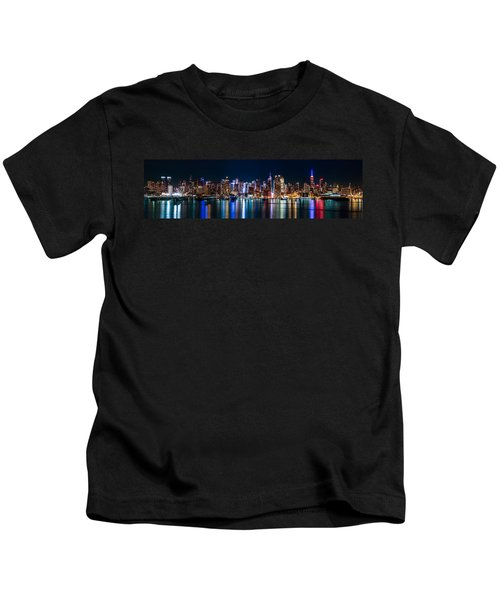New York Panorama By Night Kids T-Shirt