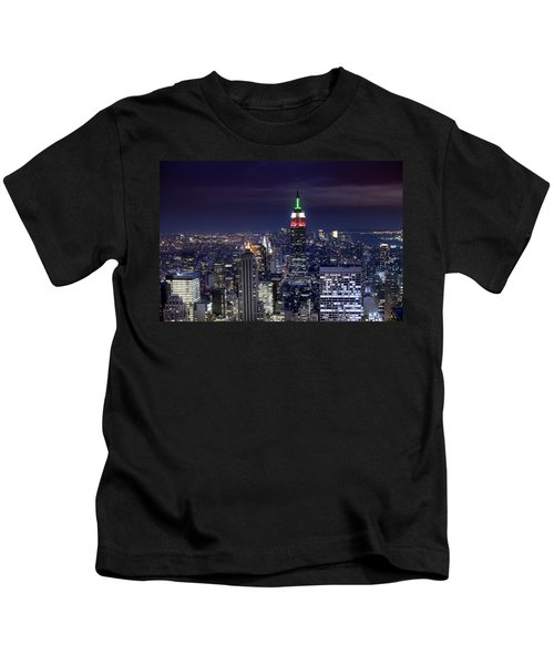 New York Skyline Night Color Kids T-Shirt