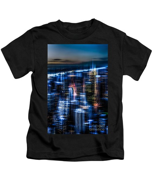 New York - The Night Awakes - Blue I Kids T-Shirt