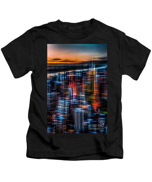 New York- The Night Awakes - Orange Kids T-Shirt