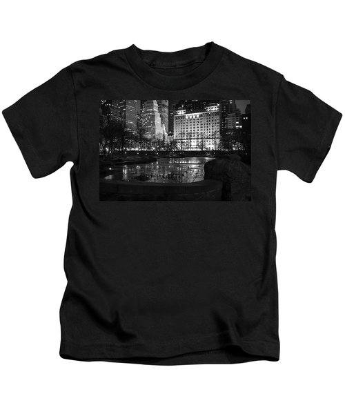 Night Central Park Lake H Kids T-Shirt
