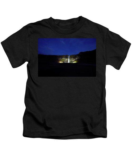 Night Shot Of Seljalandsfoss Kids T-Shirt