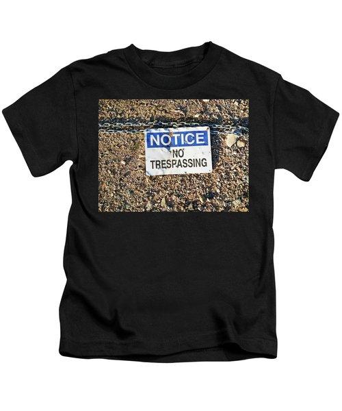 No Trespassing Sign On Ground Kids T-Shirt